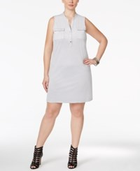 Alfani Plus Size Faux Suede Shirtdress Only At Macy's New City Silver