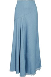 Marques' Almeida Frayed Stretch Denim Maxi Skirt Light Denim