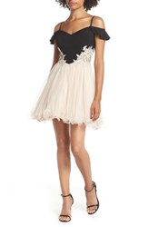 Blondie Nites Cold Shoulder Fit And Flare Dress Black Champagne