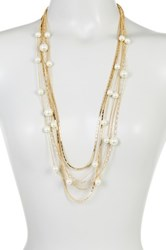 14Th And Union Layered Multi Chain Imitation Pearl Necklace Metallic