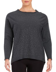 Marc New York Long Sleeve Crewneck Embellished Hi Lo Top Charcoal Heather