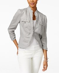 Inc International Concepts Ruffle Trim Linen Jacket Only At Macy's Sky Grey