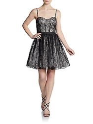 Aidan Mattox Lace Bustier Cocktail Dress Black White