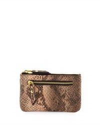 Neiman Marcus Snake Embossed Faux Leather Card Case Apricot Sn