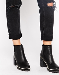 Monki Lucie Grunge Sole Ankle Boots Black