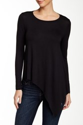 Blvd Asymmetrical Hem Long Sleeve Tee Black