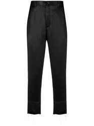 Ann Demeulemeester Cropped High Waisted Trousers Black