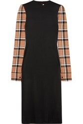 Loewe Checked Wool Blend Paneled Stretch Satin Midi Dress Black