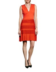 French Connection Pleated Lace Jersey Dress Orange