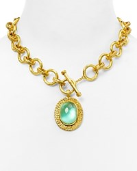 Julie Vos Penelope Chain Drop Necklace With Blue Quartz 17 Green Gold