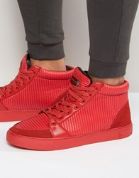 Criminal Damage Rocky High Top Trainers Red