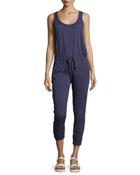 W By Wilt Scoop Neck Sleeveless Cropped Jumpsuit Navy