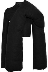 Rick Owens Woman Doll Mantle Cropped Camel Hair And Linen Blend Down Jacket Black