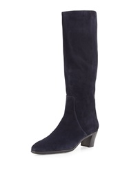 Suede Side Zip Knee Boot Navy Gravati