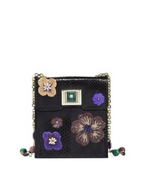 Andrew Gn Sequin Embellished Snakeskin Shoulder Bag Black Multi
