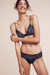 Anthropologie Eberjey Cara Lace Thong Dark Blue