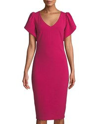 Jax V Neck Ruffle Sleeve Cocktail Sheath Dress Hot Pink