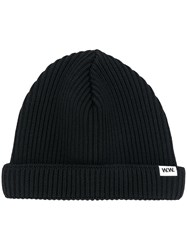 Wood Wood Ribbed Logo Patch Beanie Black