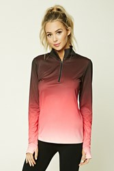 Forever 21 Active Ombre Zip Up Jacket Pink