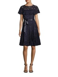 Rickie Freeman For Teri Jon Ruffled Lace Dress Navy
