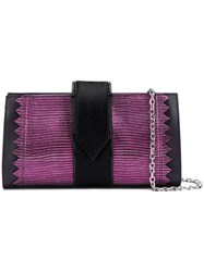 Just Cavalli Textured Clutch Bag Pink And Purple