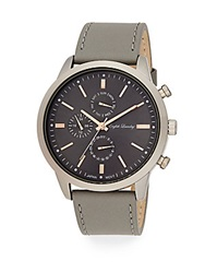 English Laundry Stainless Steel Chronograph Grey Leather Strap Watch