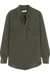 Equipment Slim Signature Washed Silk Shirt Army Green