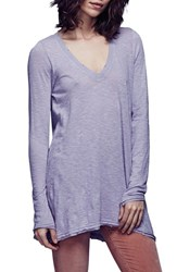 Free People Women's 'Anna' Burnout High Low Tee Lavender