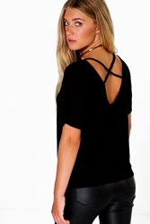 Boohoo Mesh Insert Top Strappy Back Top Black