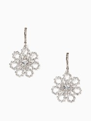 Kate Spade Crystal Lace Drop Earrings Clear Silver