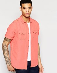 Brave Soul Vintage Wash Summer Short Sleeve Shirt Orange