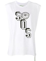 Off White Sos Embroidered Tank Top White