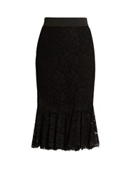 Dolce And Gabbana Cordonetto Lace Fluted Hem Skirt Black