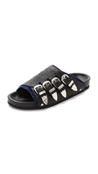 Toga Pulla Buckle Footbed Sandals Black Navy