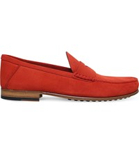 Tod's Suede Penny Loafers Red