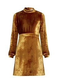 A.L.C. Gemma High Neck Velvet Dress Gold
