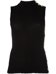 Balmain Ribbed Tank Top Black