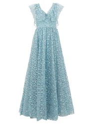 Luisa Beccaria Floral Embroidered Tulle Gown Light Blue