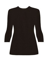The Row Stacey Lightweight Cashmere Knit Top Black