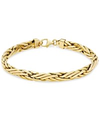 Macy's Woven Link Chain Bracelet In 14K Gold Yellow Gold