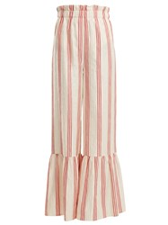 Vilshenko Cecile Striped Satin Jacquard Wide Leg Trousers Red Stripe