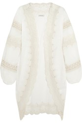 Mes Demoiselles Prunelle Crochet And Lace Trimmed Swiss Dot Cotton Jacket Ivory