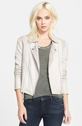 Paige 'Silvie' Suede And Leather Moto Jacket Sandstone