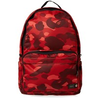 A Bathing Ape X Porter Colour Camo Day Pack Red