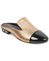 Marc Fisher Analise Slide On Mules Gold Metallic