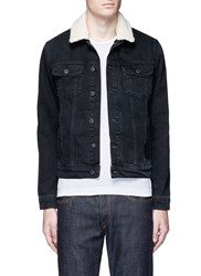 Topman Detachable Faux Shearling Collar Denim Jacket Black