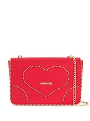 Love Moschino Studded Shoulder Bag Red