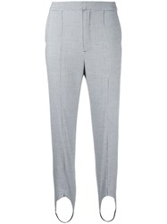 Le Ciel Bleu Houndstooth Strap Detail Trousers Grey
