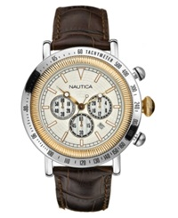 Nautica Watch Men's Chronograph Brown Leather Strap N15006g