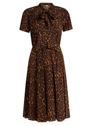Masscob Delon Leopard Print Silk Midi Dress